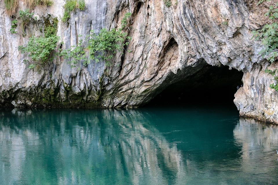 Bosnia, Mountain, Cave, Lake, Water, Turquoise