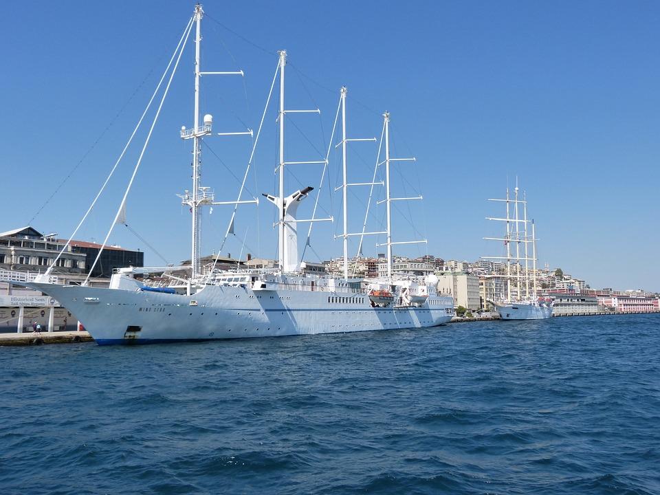 Turkey, Bosphorus, Side, Sailing, Ship, White, Mast