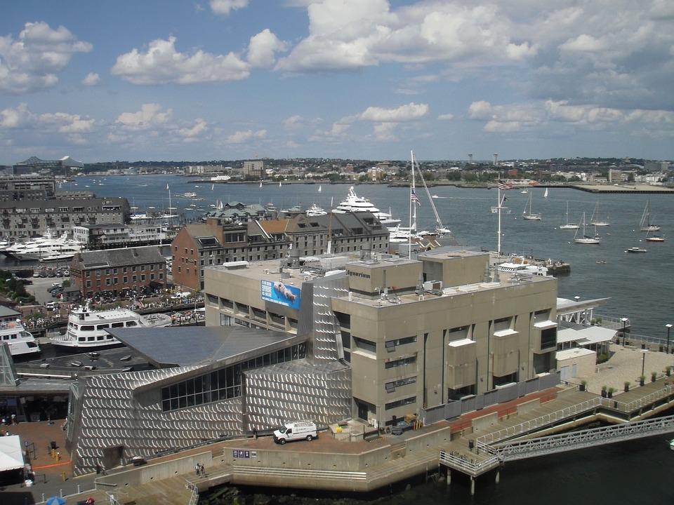 Boston, Boston Harbor, City, Docks, Ships, Sailboats