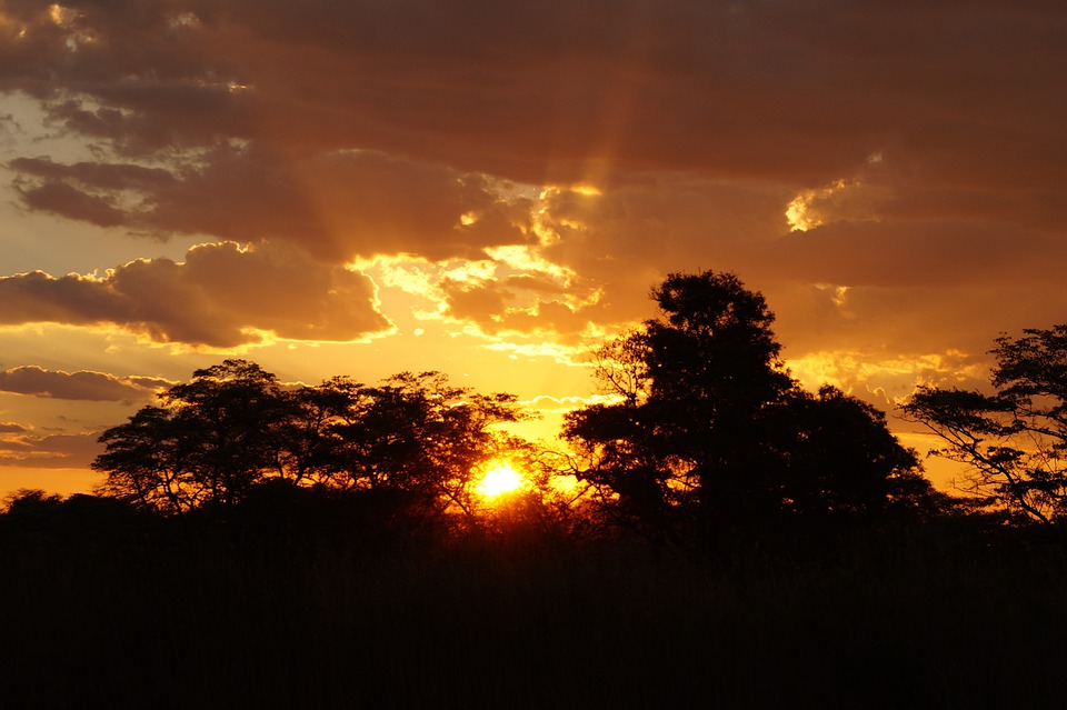 Sunset, Afterglow, Landscape, Africa, Botswana
