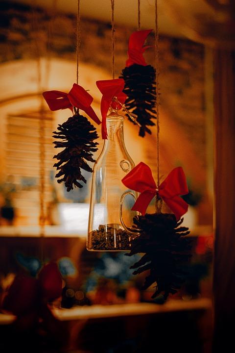 Bottle, Pinecones, Decorative, Decor, Furniture, Retro