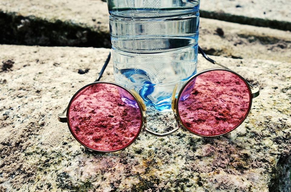 Glasses, Bottle, Stone, Pink Glasses, Water Bottle
