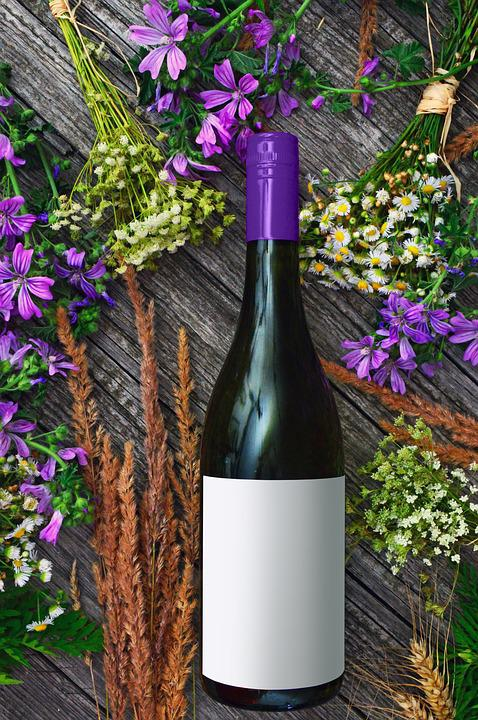 Wine Bottle, Wine, Purple, Flowers, Wildflowers, Bottle