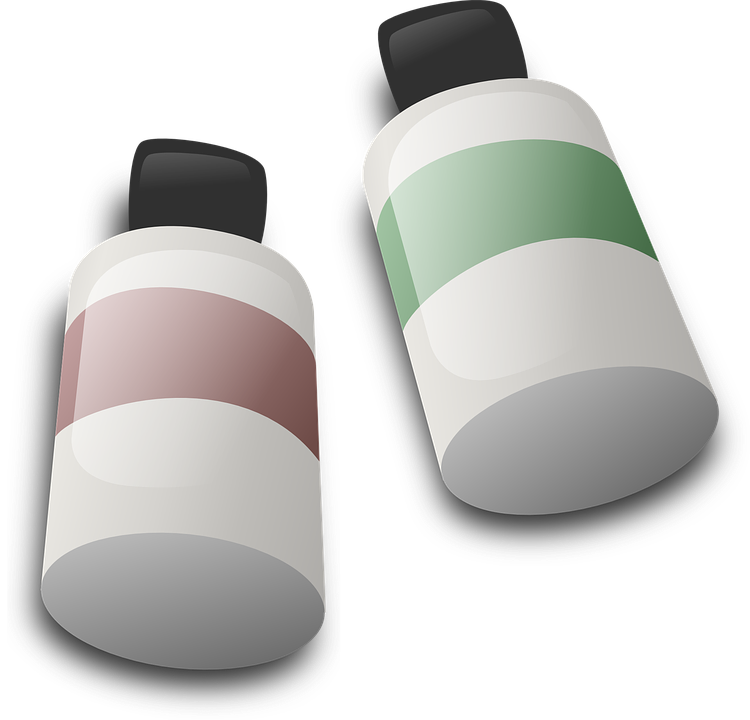 Bottles, Dye, Paint, Ink, Colour, Green, Red