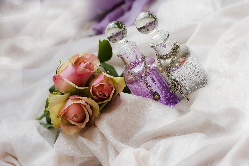 Roses, Bottles, Purple, Pink, White, Romance, Prosecco