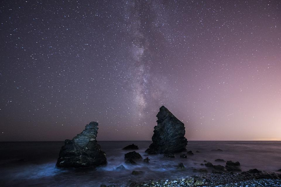 Milky Way, Boulders, Sea, Beach, Night, Rocks, Stones