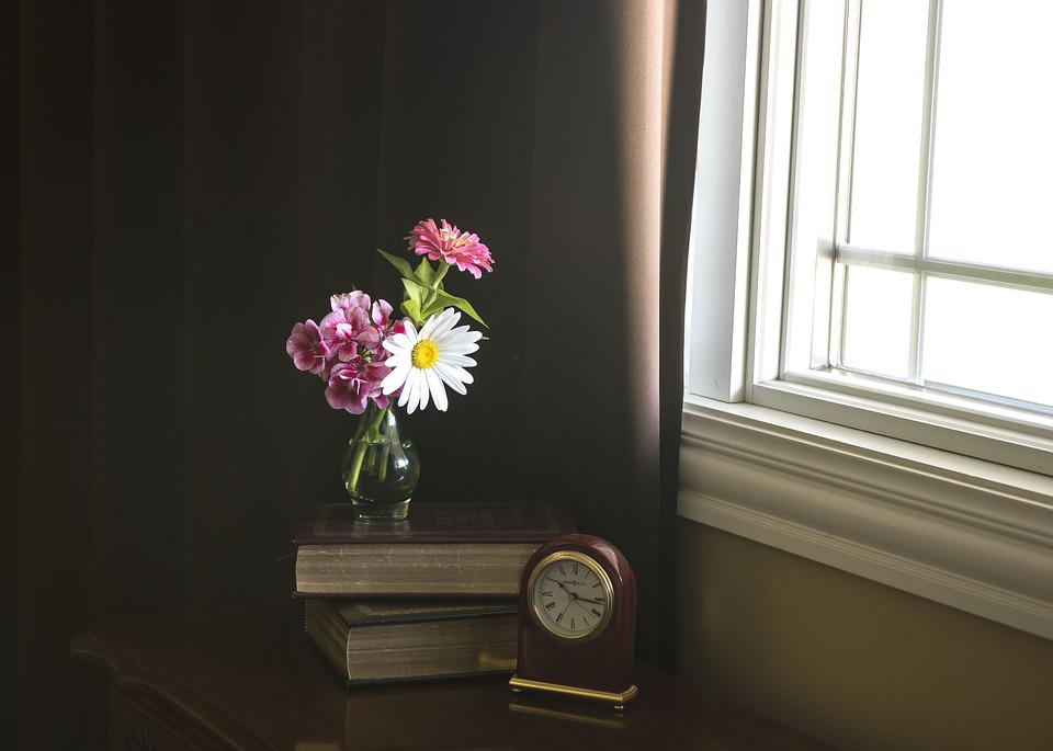 Flowers, Books, Morning, Clock, Table, Bouquet