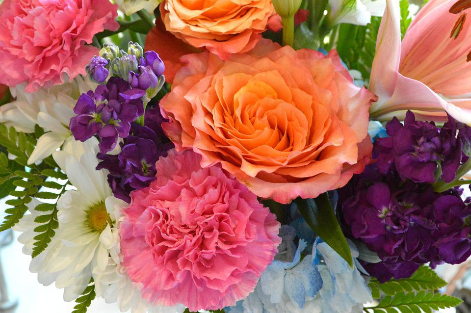 Flowers, Bouquet, Roses, Carnations, Daisies, Pink