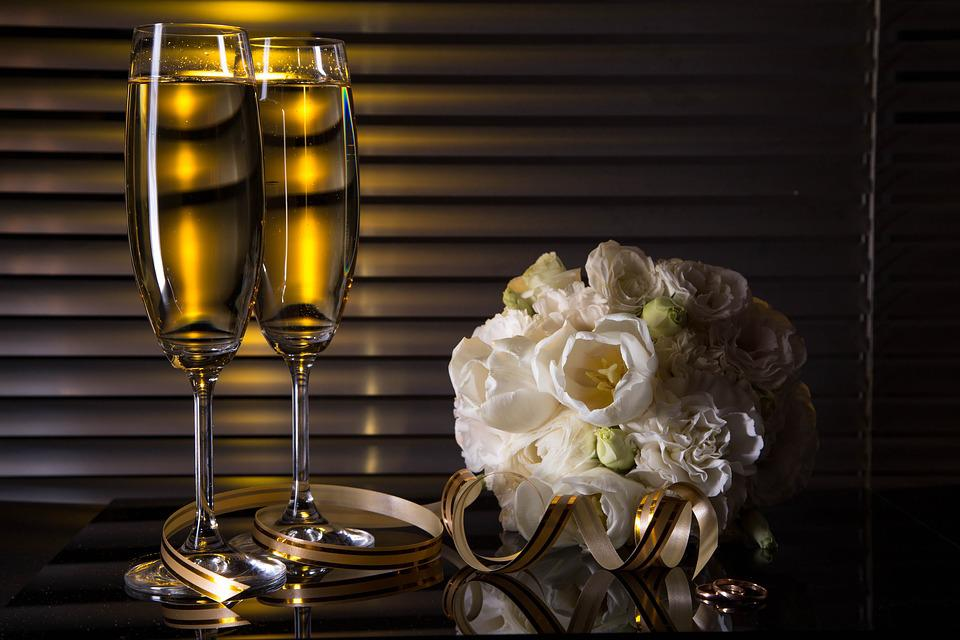 Wine Glasses, Champagne, Bouquet, Flowers, Rings