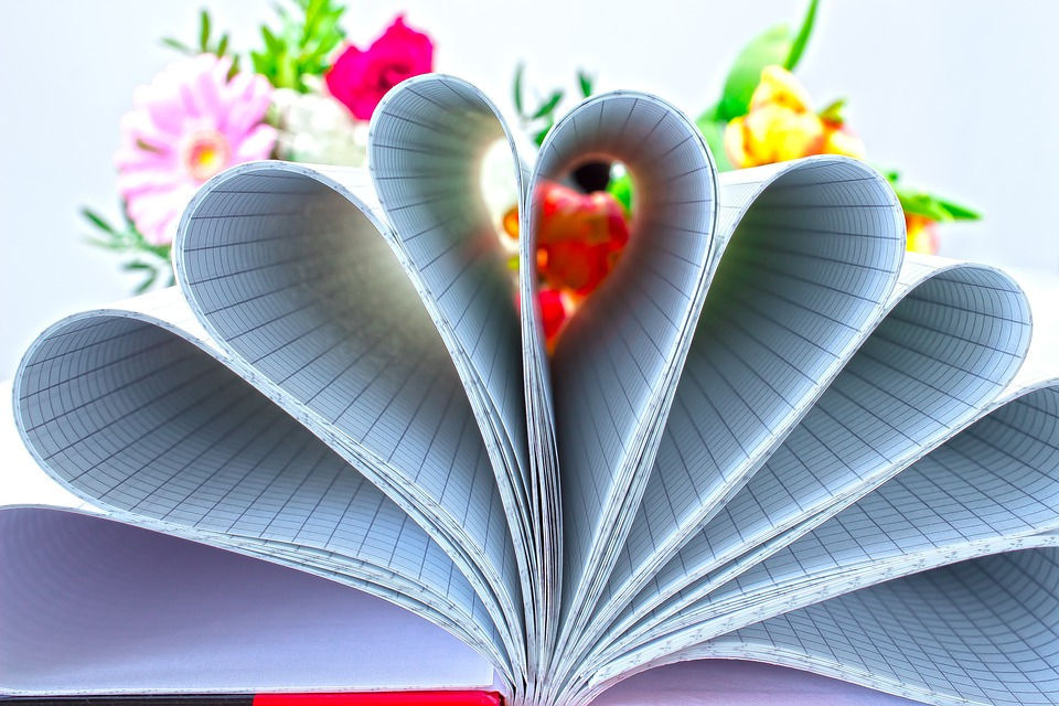 Book, Checkered, Flower, Bouquet, Heart, Rose, Tulip