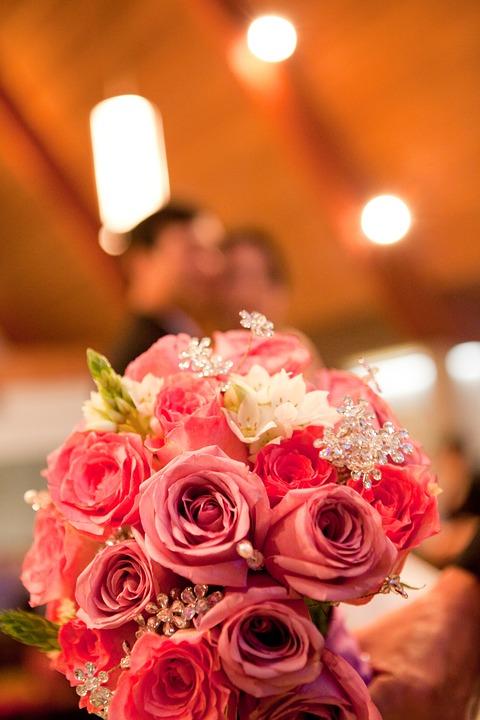 Bouquet, Wedding, Couple, Church, Flower, Bridal