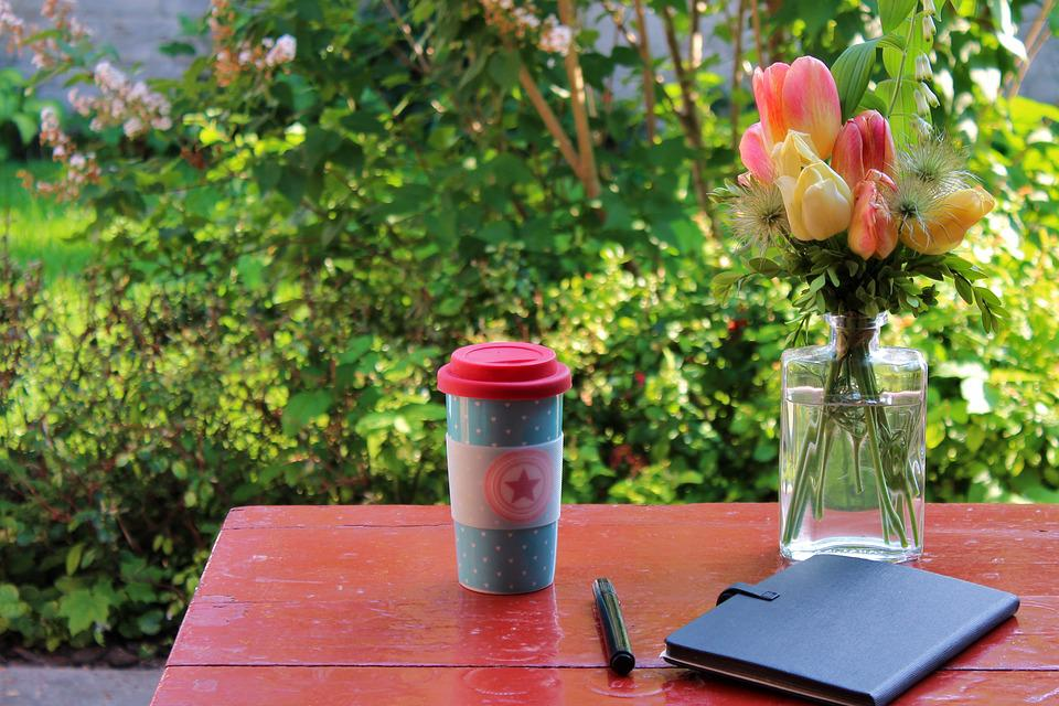 Mug, Dining Table, Coffee, Notes, Notebook, Bouquet