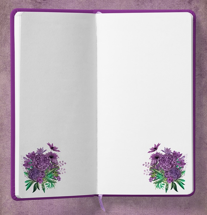 Diary, Bouquet, Flowers, Background, Purple, Note