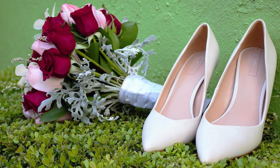 Wedding, Slippers, Bouquet, Shoes, White, Femane