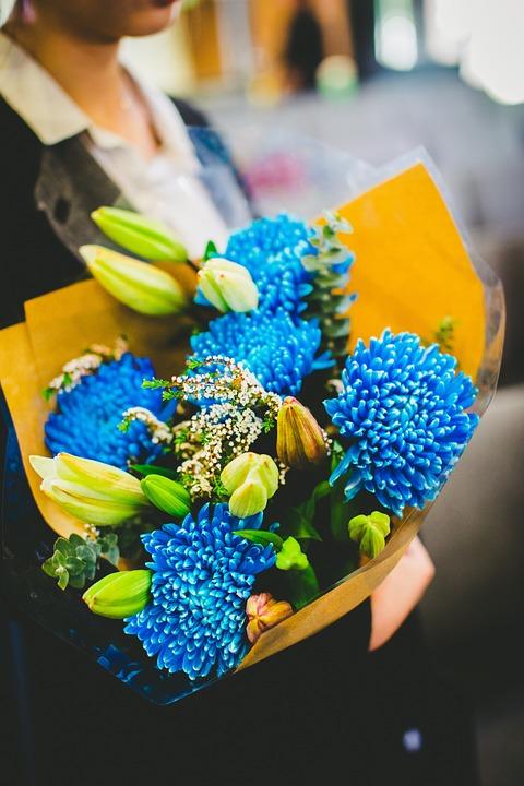 Flower, Blue, Colorful, Floral, Bouquet, Congratulation