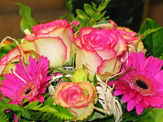 Bouquet, Flowers, Bouquet Of Flowers, Roses, Pink, Vase