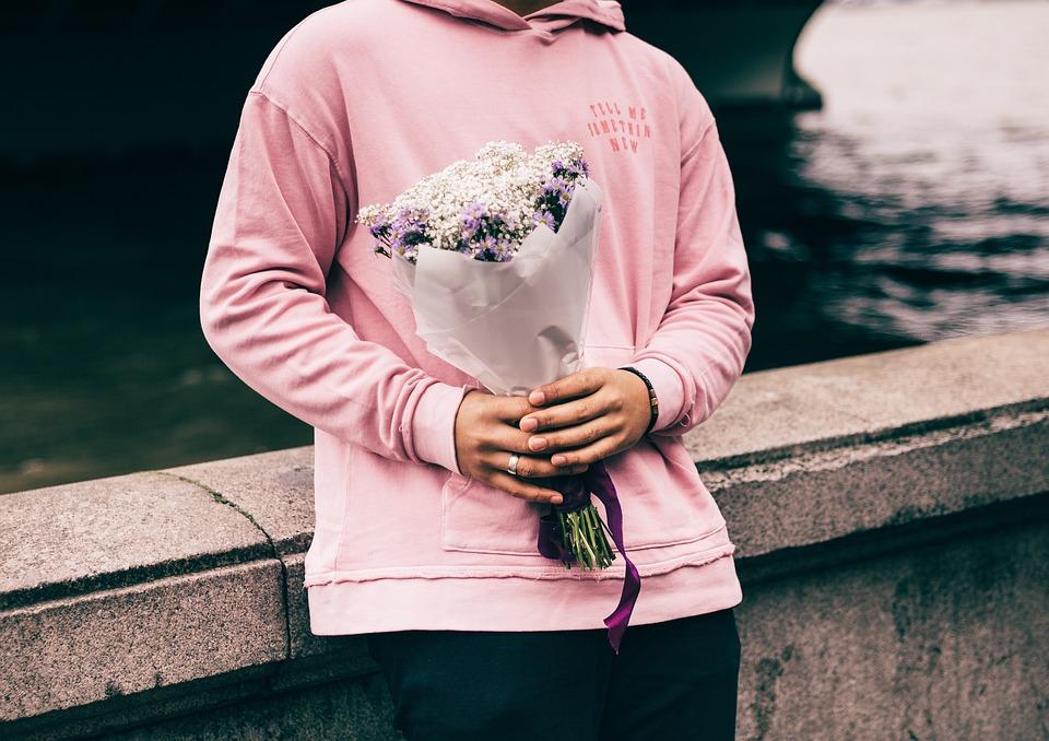 People, Man, Valentines, Flowers, Bouquet, Hoodie