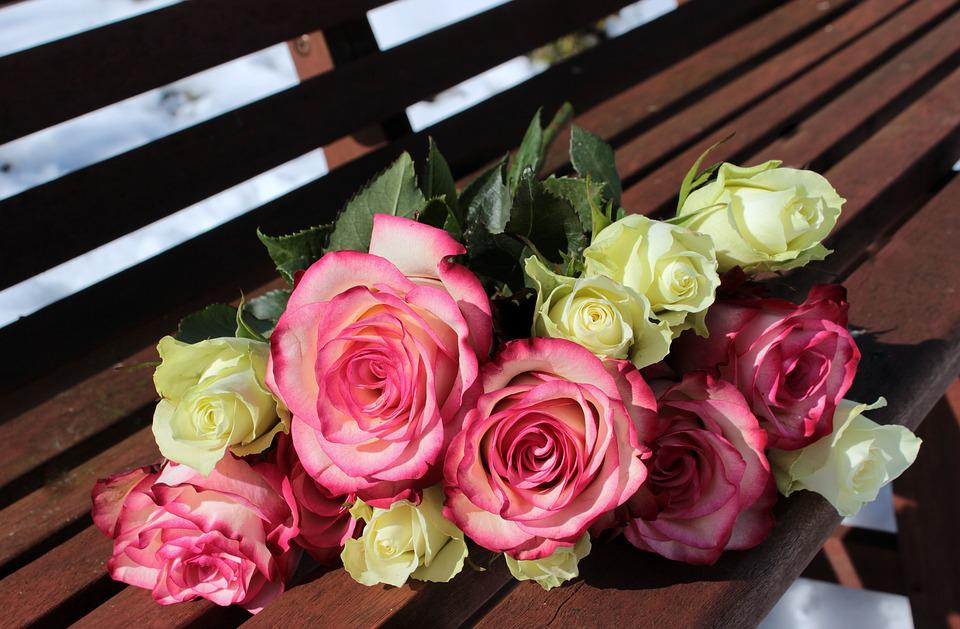 Bouquet Of Roses Pink White
