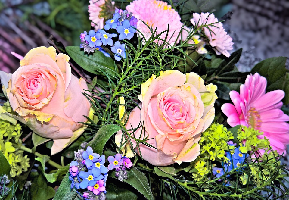 Free photo bouquet pink roses spring bouquet blue forget me not bouquet spring bouquet pink roses blue forget me not mightylinksfo