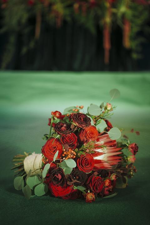 Wedding, Bouquet, Red Bouquet