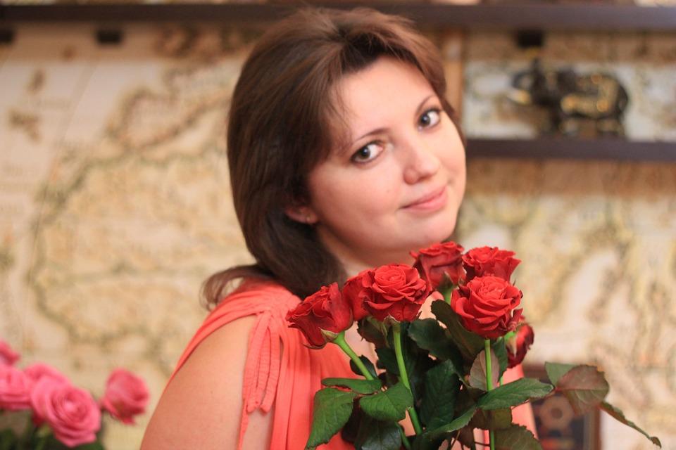 Girl, Rose, Bouquet, Odor