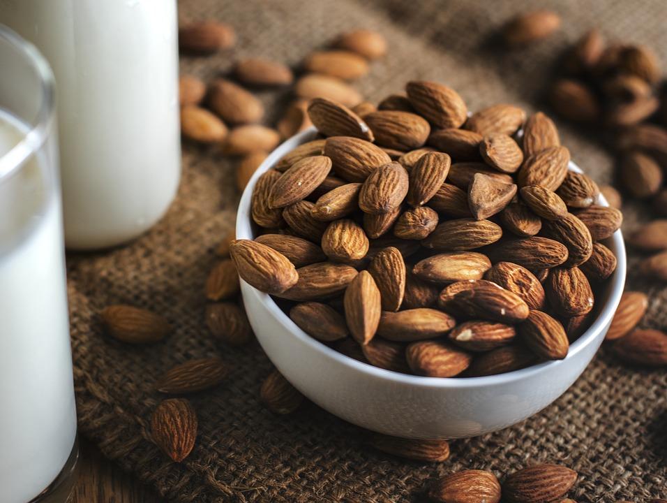 Almond, Almond Milk, Bottle, Bowl, Brown, Burlap