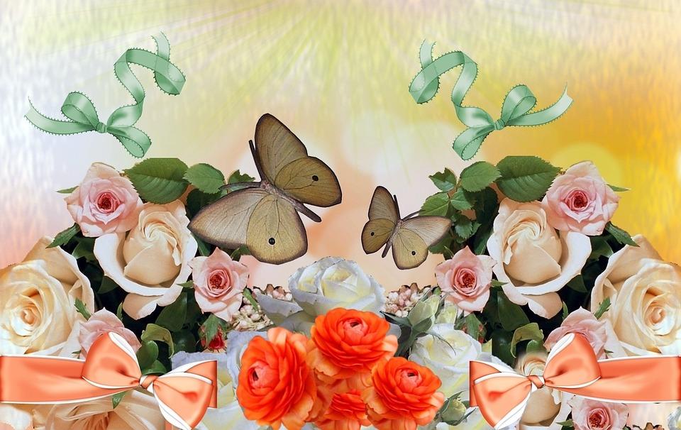 Roses, Butterflies, Bows, Flowers, Flower Arrangement