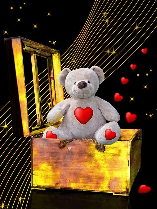 Teddy Bear, Box, Romantic, Tenderness, Love, Wishes