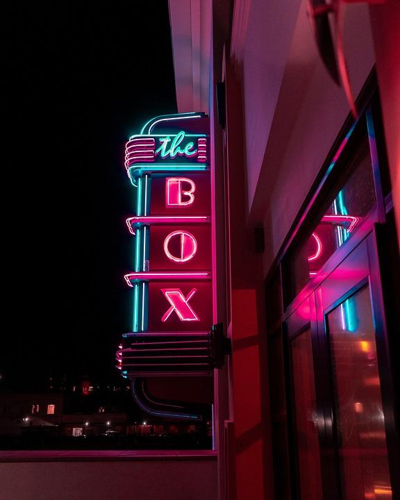 Neon, Signs, Nightlife, Box, Street, Building