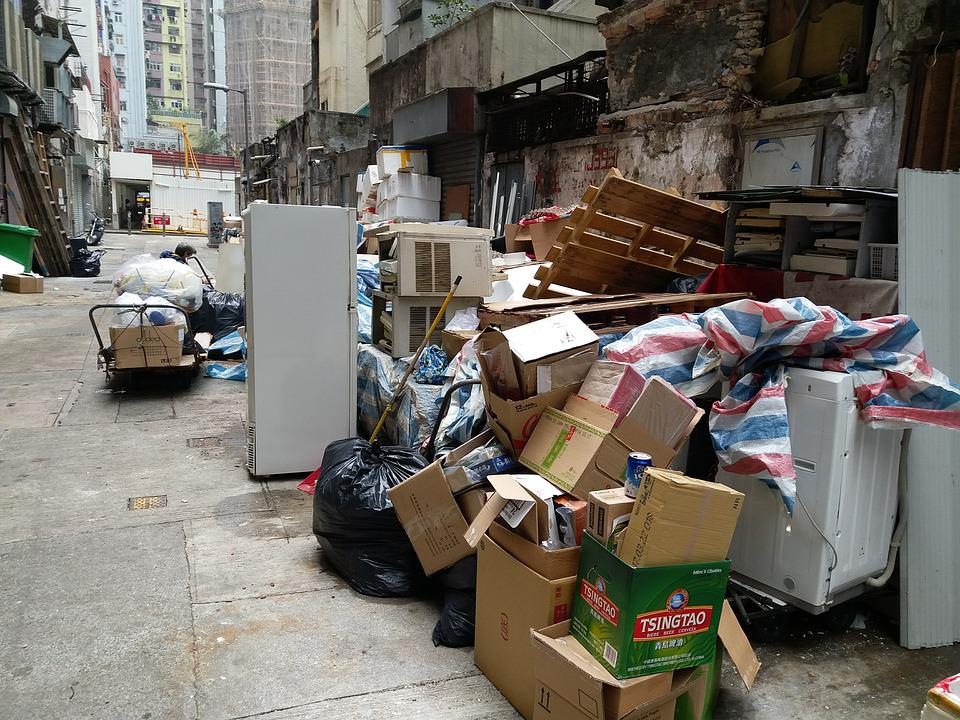 Boxes, Backstreet, Wall, Garbage