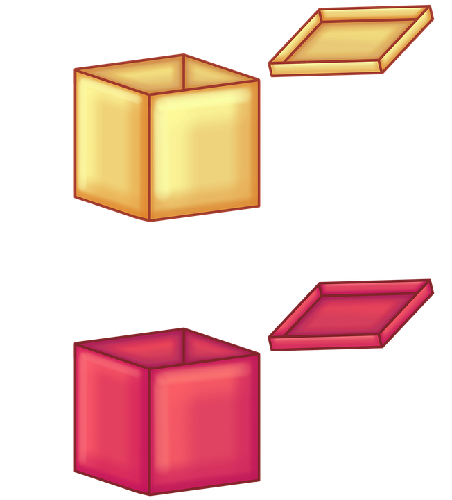 Boxes, Surprise, Gifts, Cubes, Golden Box, Red Box