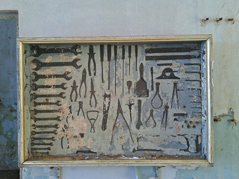 Old, Toolbox, Box, Outline, Boxes, Tools