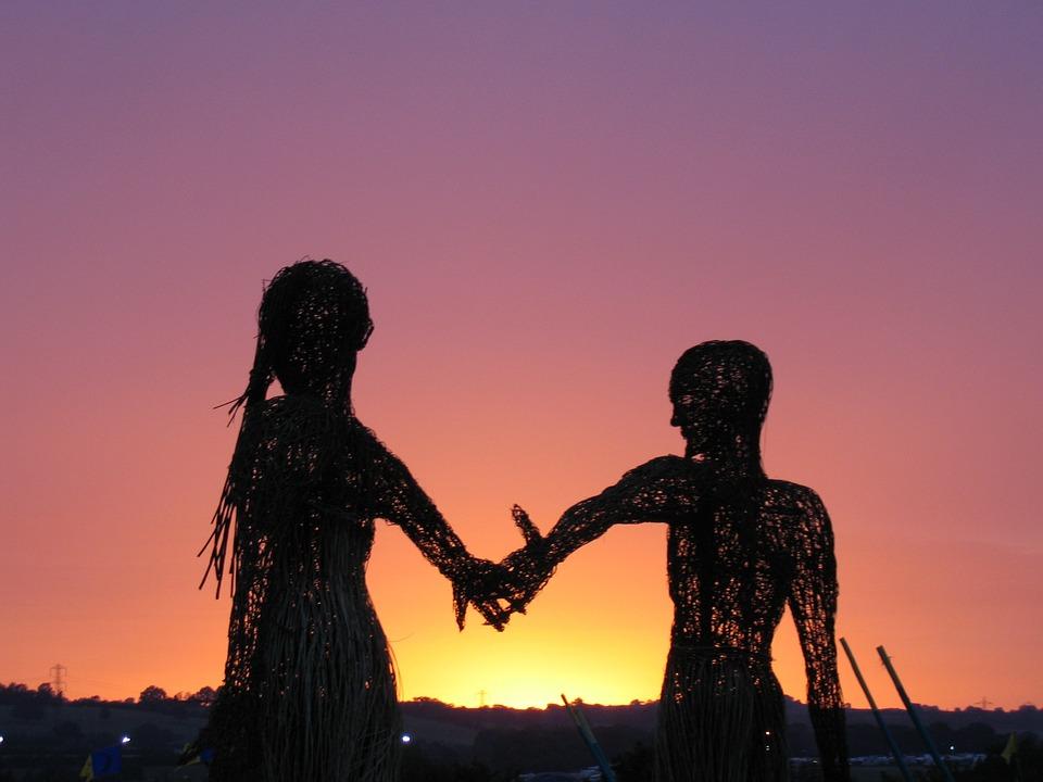 Girl, Boy, Man, Pair, Dawn, Handshake, Sunrise
