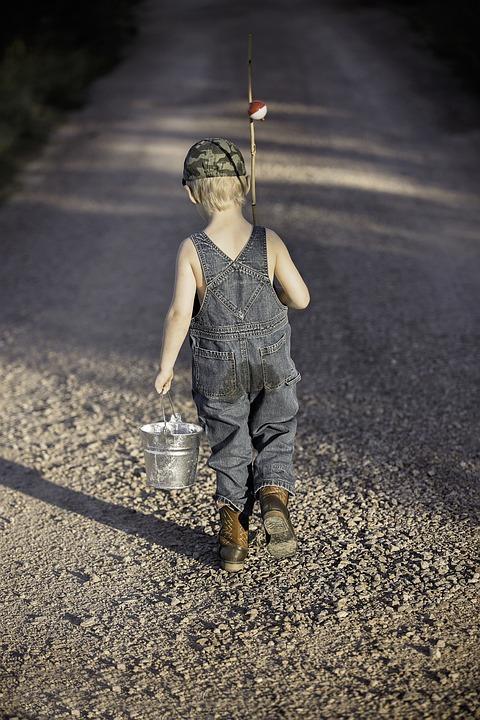 Boy, Child, Fishing Rod, Bucket, Fishing, Fisherman