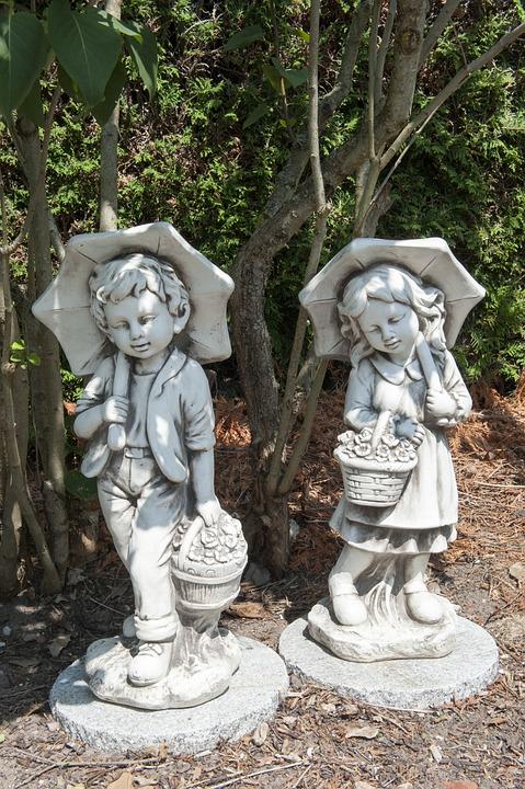 Sculpture, Garden, Stone, Boy, Girl