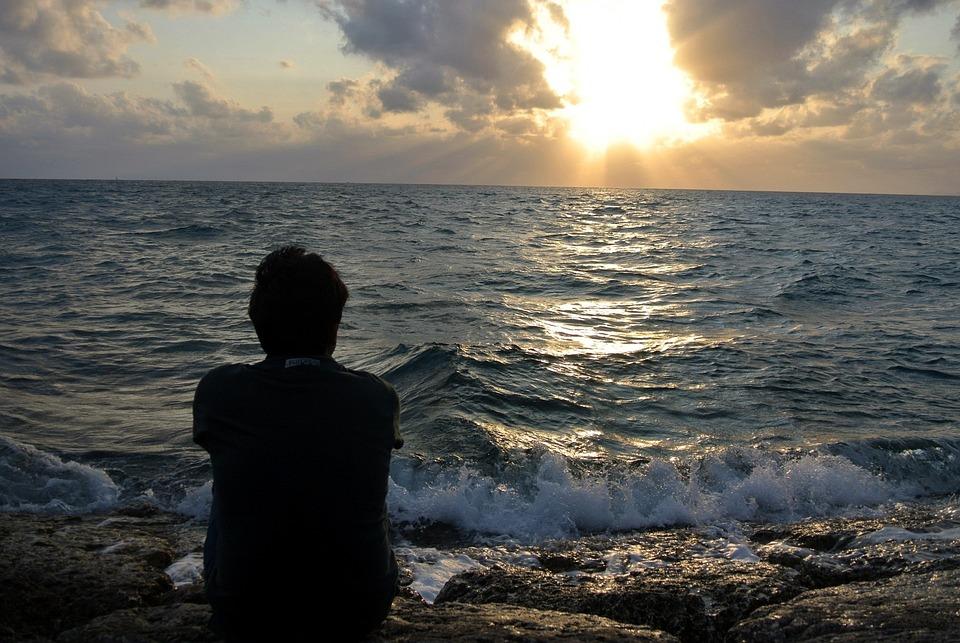Sunset, Sea, Homesickness, Sillhouette, Boy, Sky