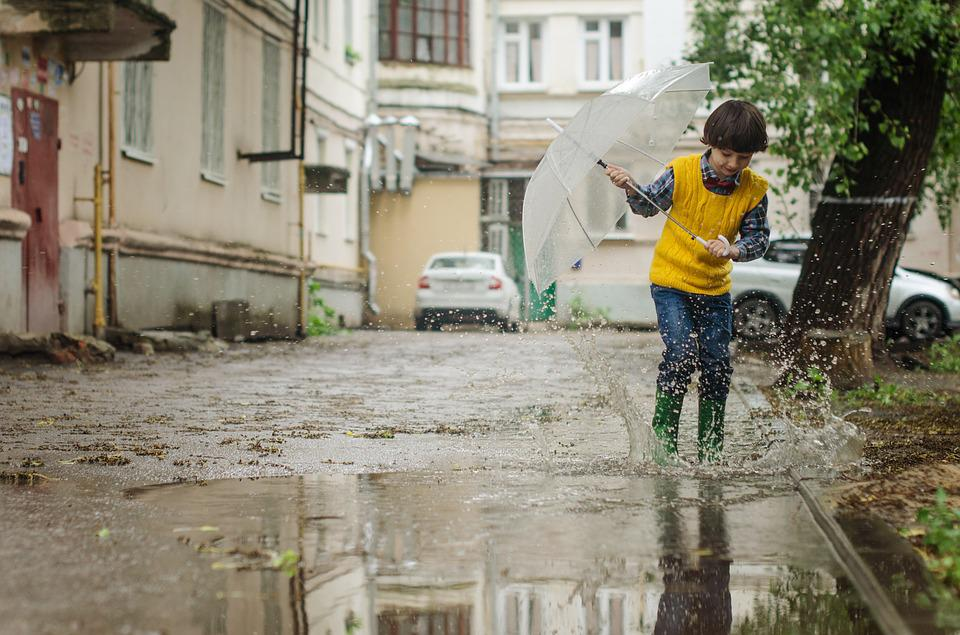 Umbrella, Puddle, Kid, Baby, Kids, Boy, Maxim, Rain