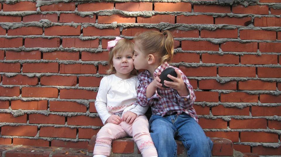 Children, Girl, Boy, Granddaughter, Grandson, Kiss
