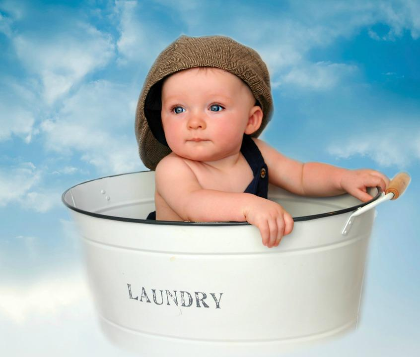 Free photo Boy Laundry Tub Tin Clouds Infant Baby Cute - Max Pixel