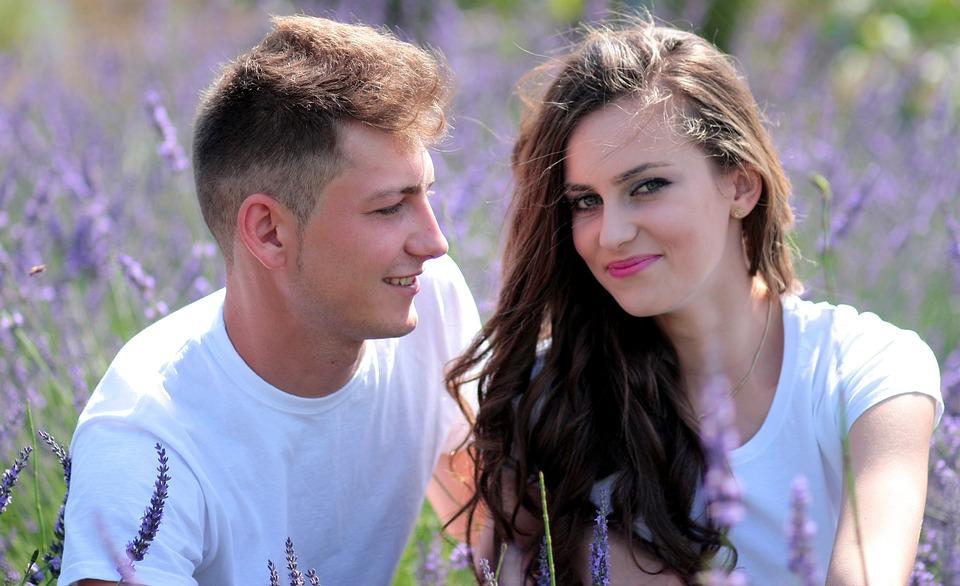 Couple, Love, Lavender, Girl, Boy, Romance, Beauty