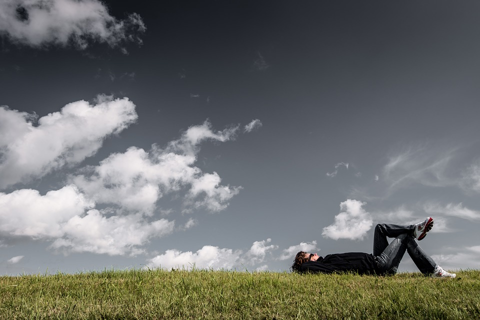 Grass, Lying, Resting, Relaxing, Man, Boy, Thinking