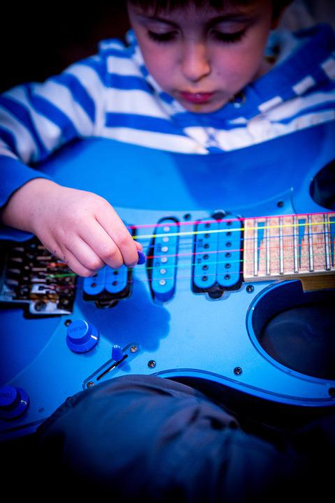 Playing, Music, Musical Instrument, Boy, Guitar