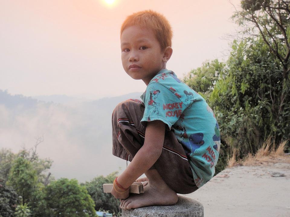 Boy, Balance, Crouch, Myanmar, Burma