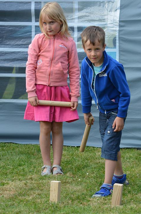 Children, Boy, Girl, Game, People, Viking Kubb, Kubbing