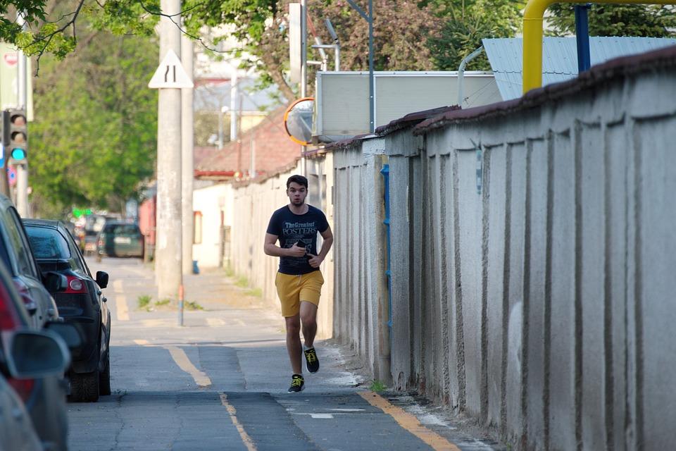Boy, Man, Young, Person, Running, The Sidewalk, Track