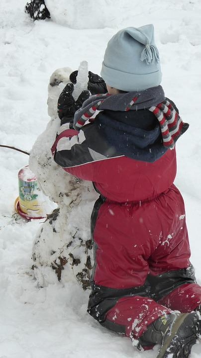 Snow, Child, Boy, Snow Man, Play, Out, Creative, Cap