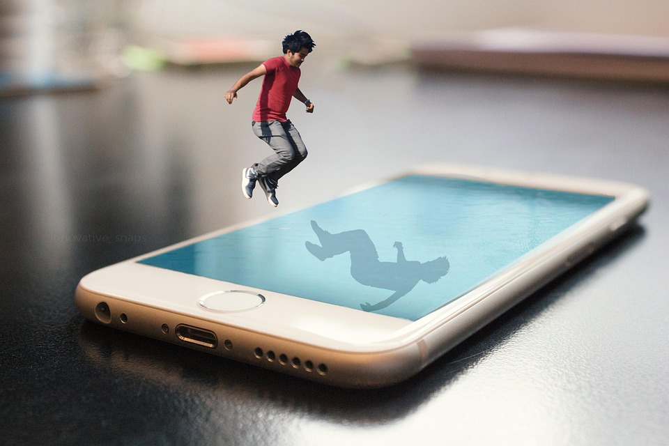 Iphone, Pool, Boy, Jumping, Diving, Table, Photoshop