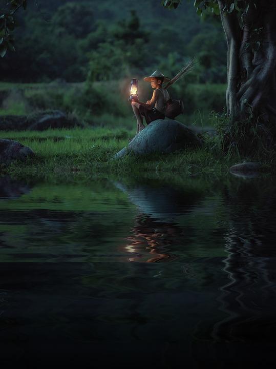 Boy, Lamp, Night, Riverside, Reflection, Water, Child