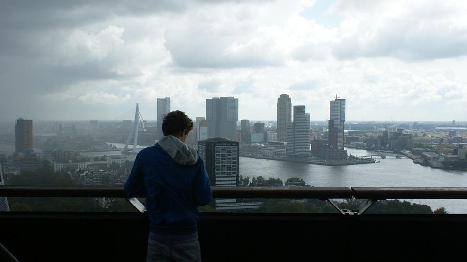 Rotterdam, Boy, Skyline, Port, Water, Cityscape