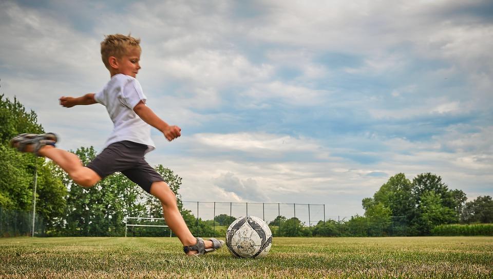 Football, Child, Shot, Play, Sport, Boy, Grass, Rush